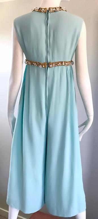 Amazing 1960s Pale Blue Silk Crepe Rhinestone Beaded Cropped Culottes Jumpsuit For Sale 3