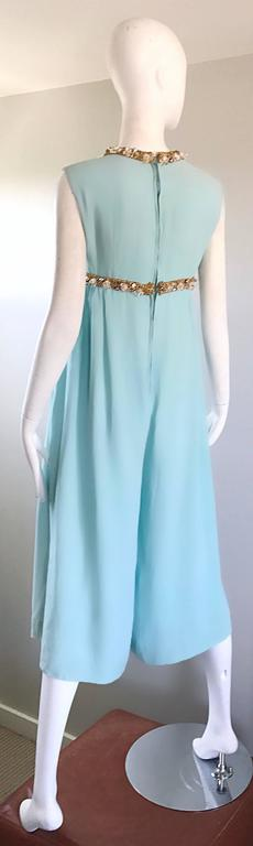 Amazing 1960s Pale Blue Silk Crepe Rhinestone Beaded Cropped Culottes Jumpsuit For Sale 4