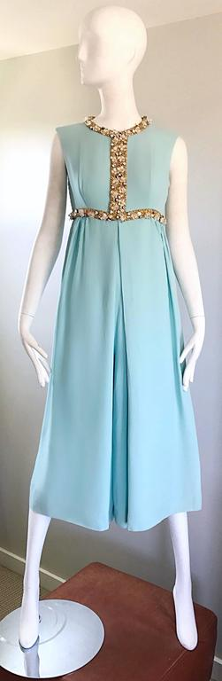 Amazing 1960s Pale Blue Silk Crepe Rhinestone Beaded Cropped Culottes Jumpsuit For Sale 5