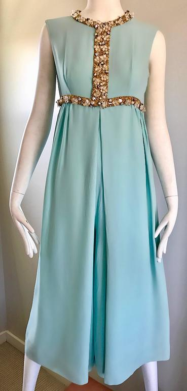 5e3ea3ce8052 Amazing 1960s Pale Blue Silk Crepe Rhinestone Beaded Cropped Culottes  Jumpsuit For Sale 6