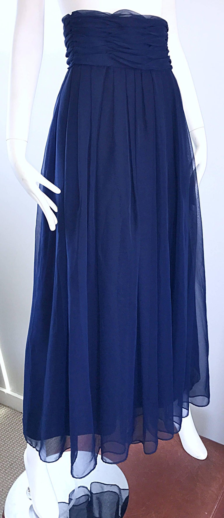 Chic Vintage Victor Costa High Waisted Navy Blue Chiffon