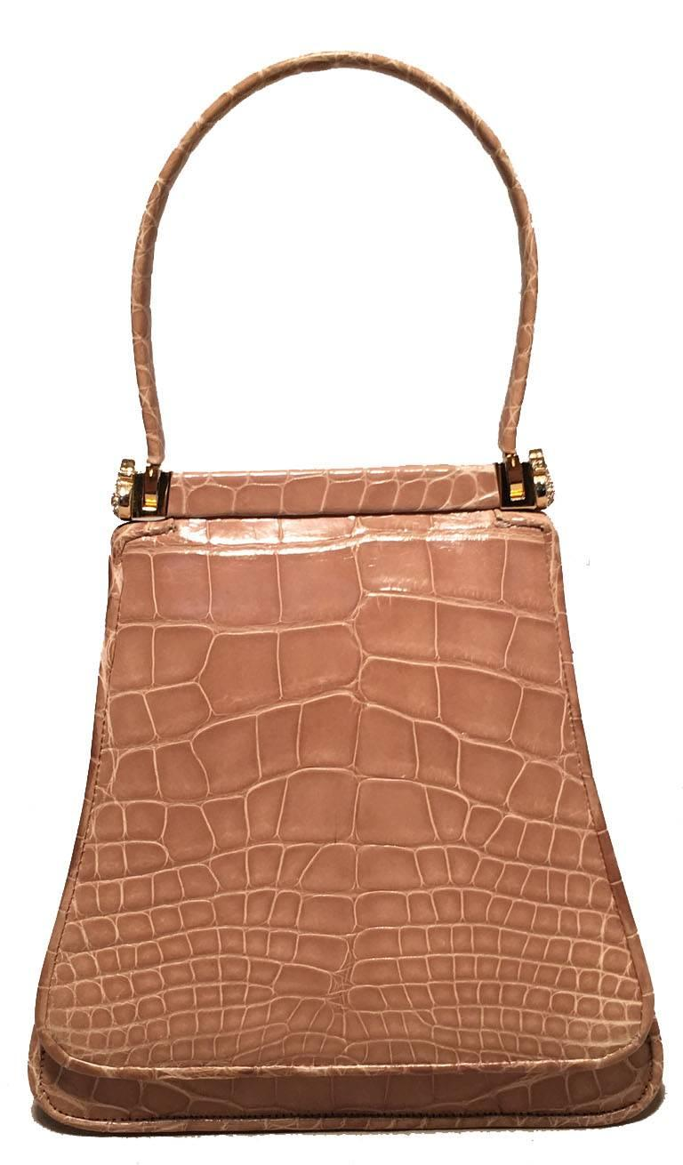 BEAUTIFUL Vintage Judith Leiber Tan alligator mini handbag in excellent condition. Tan alligator exterior trimmed with gold hardware and crystal accents.  Front flap snap closure opens to a tan leather lined interior. No stains, smells, or scuffs.