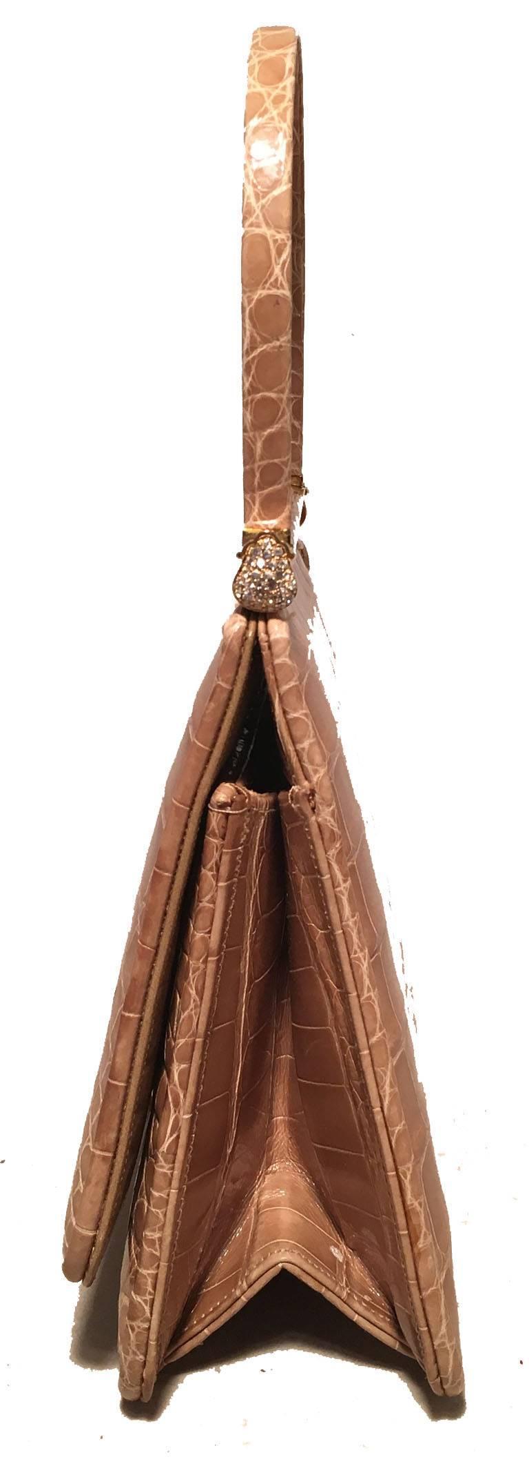 Brown Judith Leiber Vintage Tan Alligator Mini Evening Bag For Sale