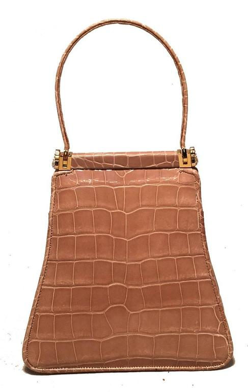 Judith Leiber Vintage Tan Alligator Mini Evening Bag In Excellent Condition For Sale In Philadelphia, PA