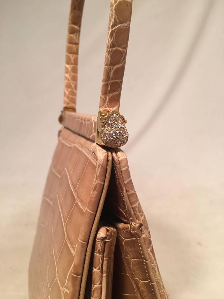 Judith Leiber Vintage Tan Alligator Mini Evening Bag For Sale 1