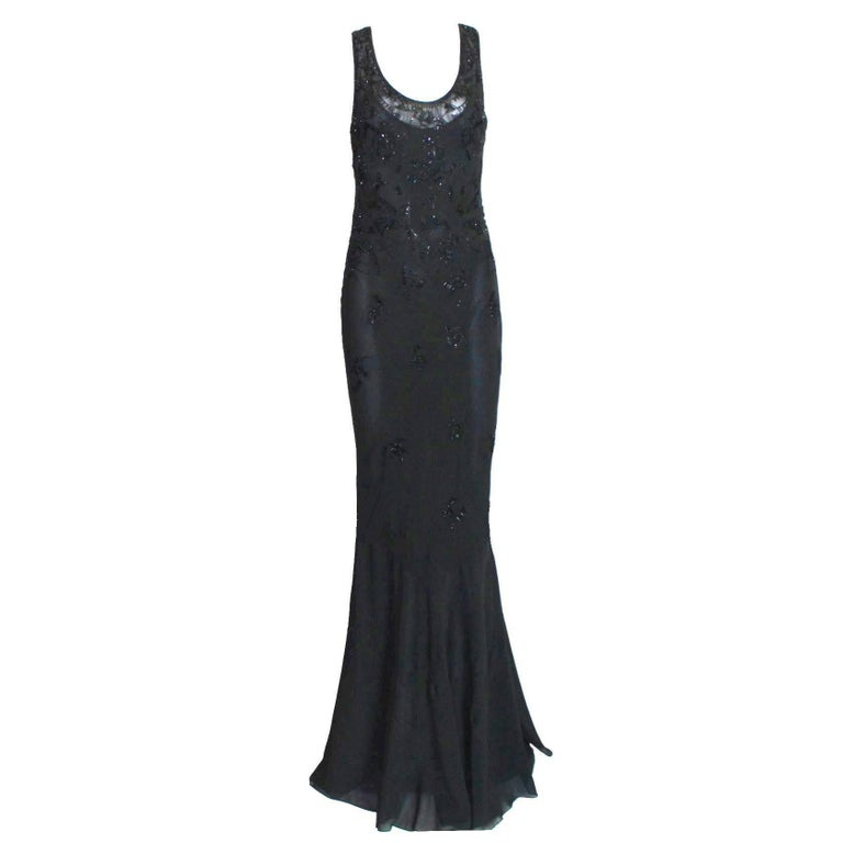 Breathtaking Christian Dior Black Chiffon Silk Embroidery Hourglass Evening Gown