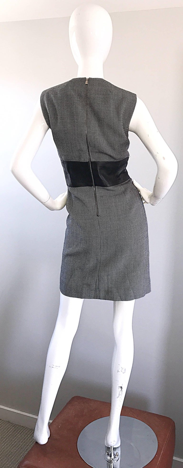 Women's New Michael Kors Collection Size 14 Black and White Wool + Leather Classic Dress For Sale