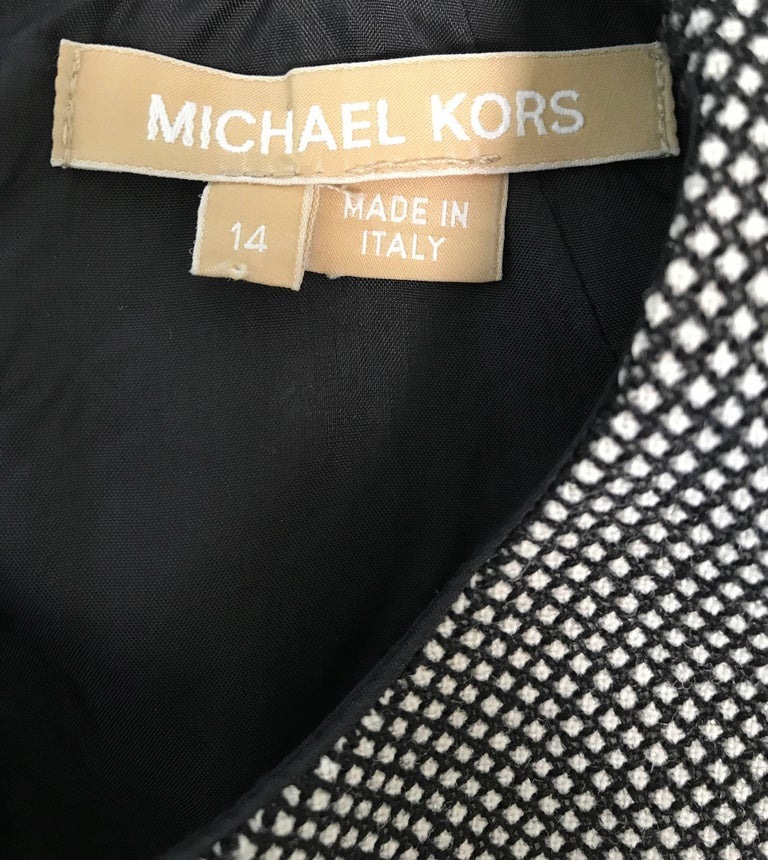 New Michael Kors Collection Size 14 Black and White Wool + Leather Classic Dress For Sale 1
