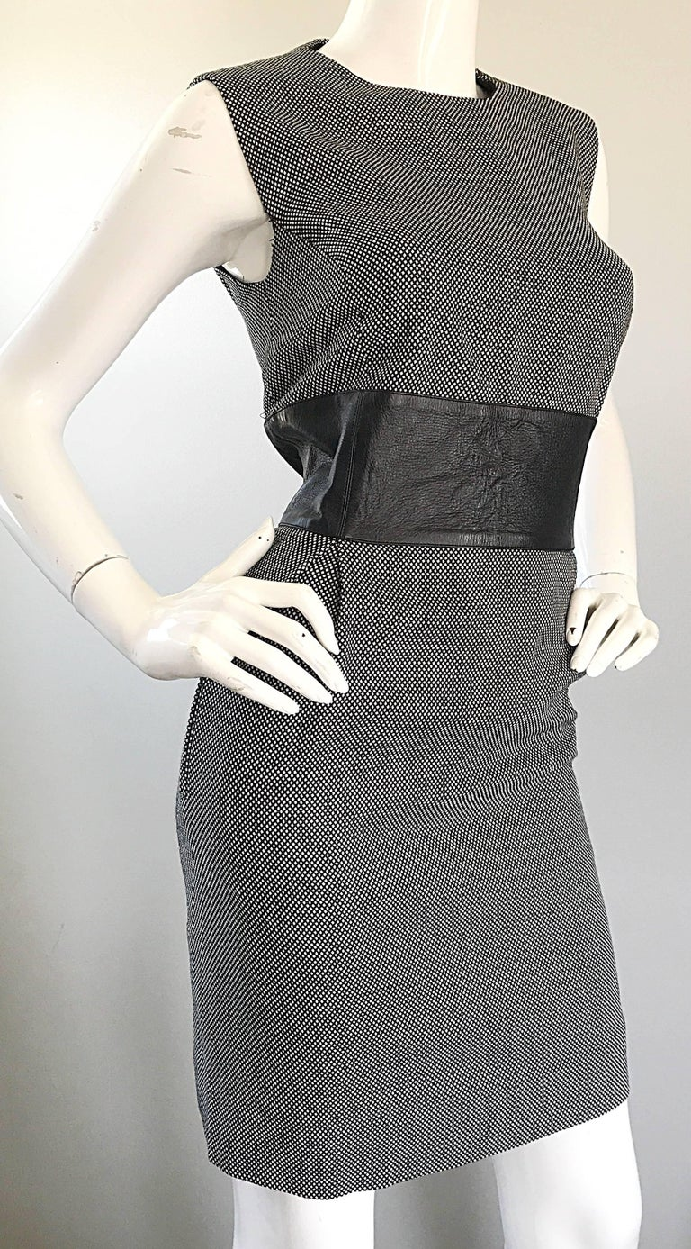 New Michael Kors Collection Size 14 Black and White Wool + Leather Classic Dress For Sale 2