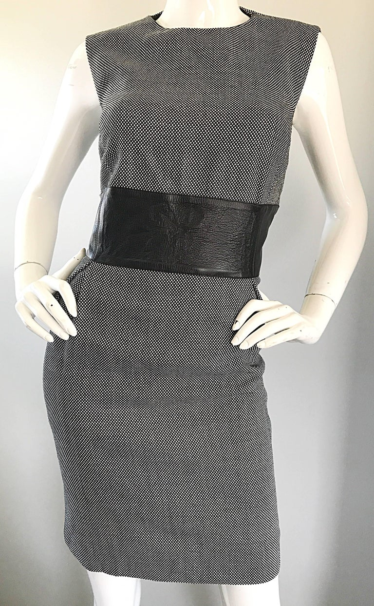 New Michael Kors Collection Size 14 Black and White Wool + Leather Classic Dress For Sale 4