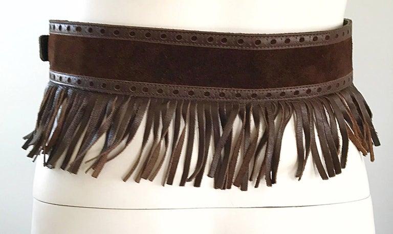 1970s Yves Saint Laurent Brown Leather + Suede Fringe Vintage 70s Boho Belt YSL 3