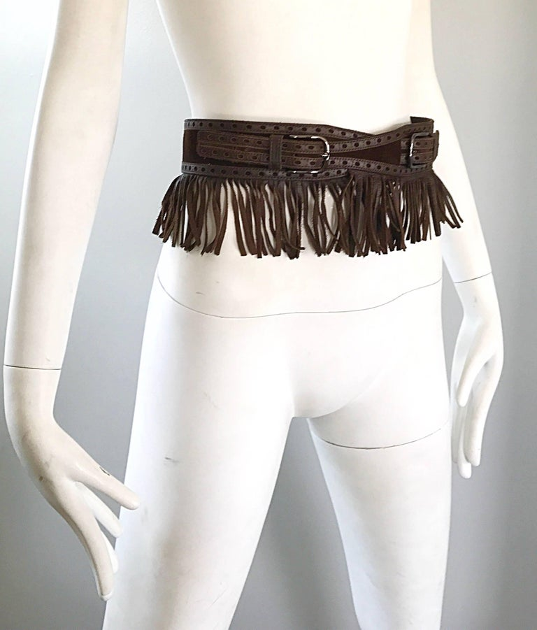 1970s Yves Saint Laurent Brown Leather + Suede Fringe Vintage 70s Boho Belt YSL In Excellent Condition For Sale In Chicago, IL