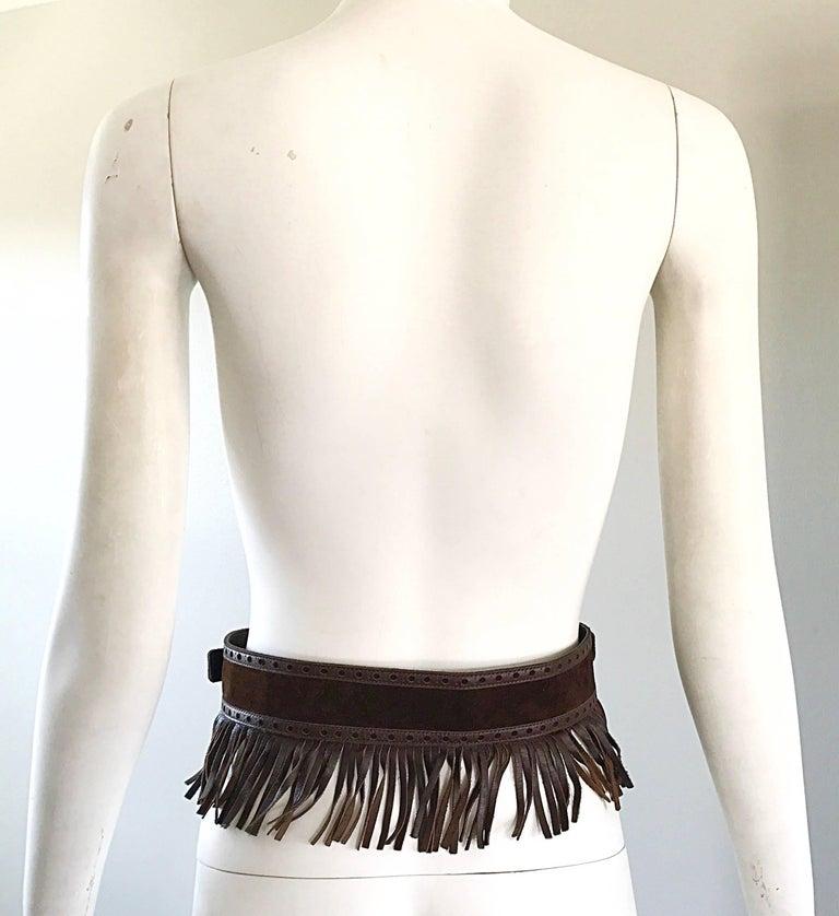 1970s Yves Saint Laurent Brown Leather + Suede Fringe Vintage 70s Boho Belt YSL 5