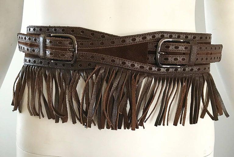 1970s Yves Saint Laurent Brown Leather + Suede Fringe Vintage 70s Boho Belt YSL 6
