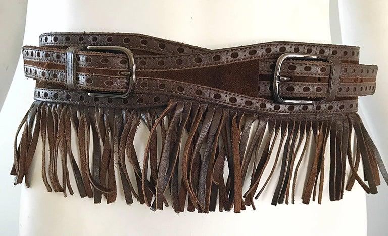 1970s Yves Saint Laurent Brown Leather + Suede Fringe Vintage 70s Boho Belt YSL 7