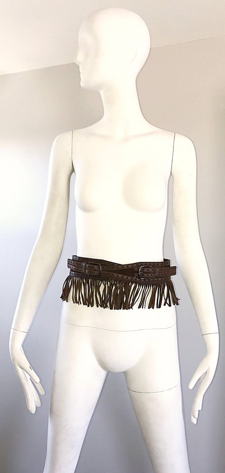 1970s Yves Saint Laurent Brown Leather + Suede Fringe Vintage 70s Boho Belt YSL 8