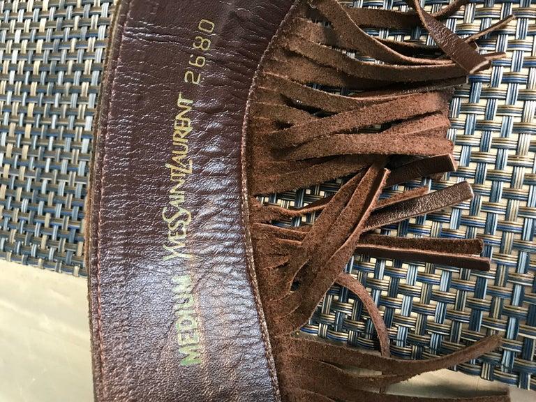 1970s Yves Saint Laurent Brown Leather + Suede Fringe Vintage 70s Boho Belt YSL 10