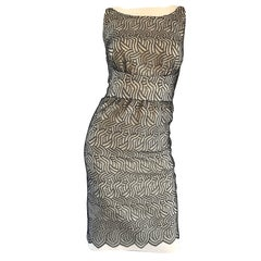 Fabulous Bill Blass Sz 6 1990s Black and White Crochet Vintage 90s Sheath Dress