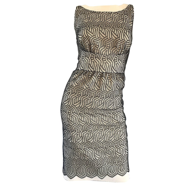 Fabulous Bill Blass 1990s Black and White Crochet Vintage 90s Sheath Dress Sz 6