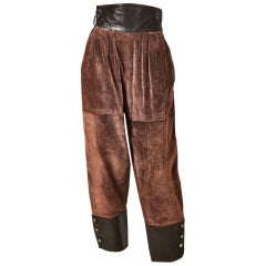 Yves Saint Laurent Leather and Suede Pant