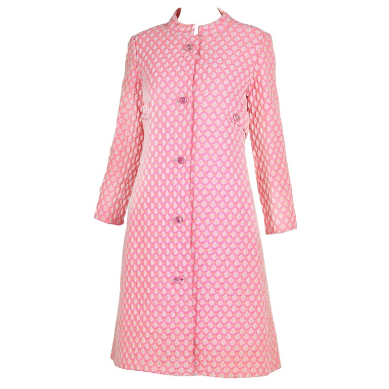 1960's Guy Laroche by Maria Carine Bubblegum Pink Patterned Coat