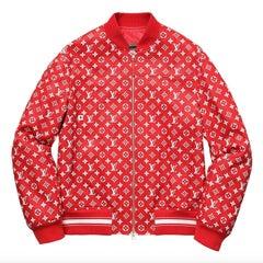 Louis Vuitton Supreme X Leather Bomber Varsity Jacket Monogram Ltd Ed size 50
