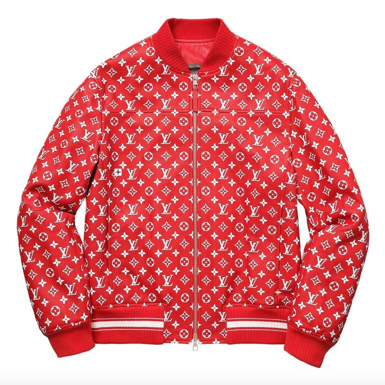 Louis Vuitton Supreme X Leather Bomber Varsity Jacket Monogram Ltd Ed Size 50 For Sale