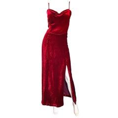 1990s Giorgio Armani Collezioni Crimson Red Silk Velvet Size 8 Vintage 90s Gown