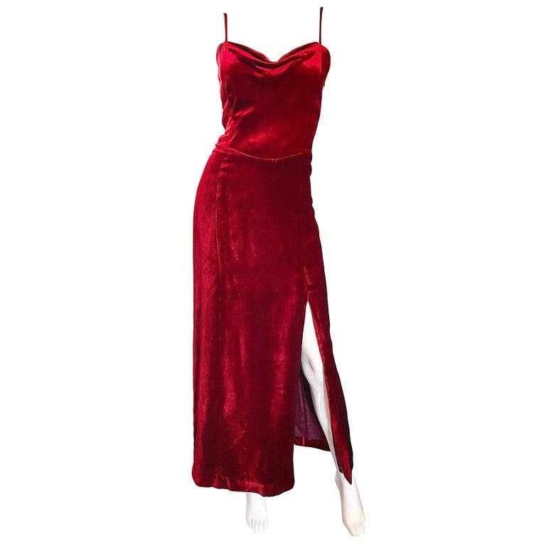 1990s Giorgio Armani Collezioni Crimson Red Silk Velvet Size 8 Vintage 90s Gown 1