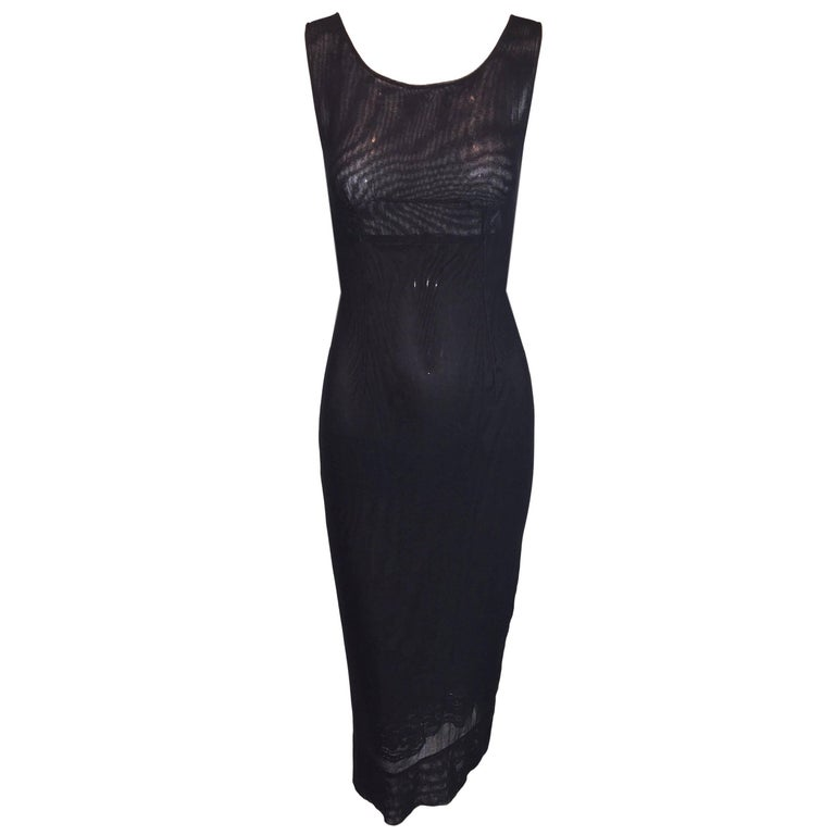 S/S 1998 Dolce & Gabbana Black Sheer Mesh Lace Underlay Wiggle Pencil Dress