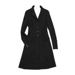 Prada Black Wool Riding Style Coat