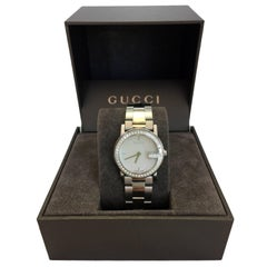 "Gucci Stainless Steel Mother of Pearl Face Diamond Encrusted ""101L"" Watch"