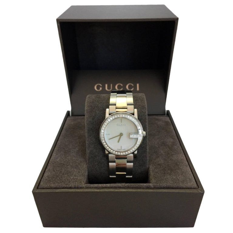 9de2cd0852a Gucci Stainless Steel Mother of Pearl Face Diamond Encrusted