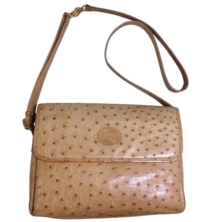 Vintage GUCCI nude brown genuine ostrich leather camera bag style shoulder bag.