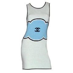Classy Chanel Signature CC Logo Enblem Cashmere Dress