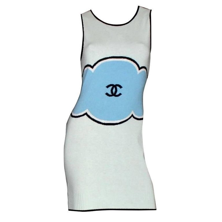 Classy Chanel Signature CC Logo Enblem Cashmere Dress For Sale