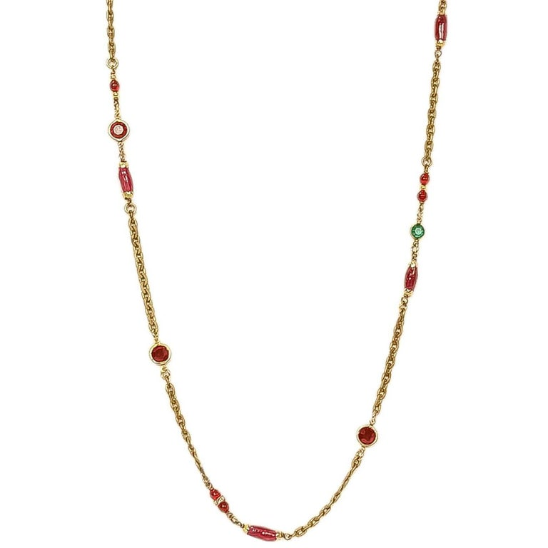 "CHANEL Vintage '84 Crystal & Gripoix 64"" Long Necklace For Sale"