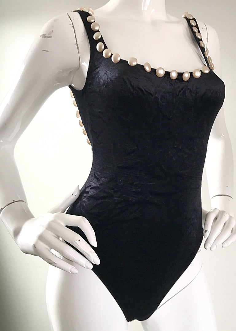 Vintage Moschino 1990s Black and White Velour Pearl Encrusted Bodysuit Swimsuit For Sale 2