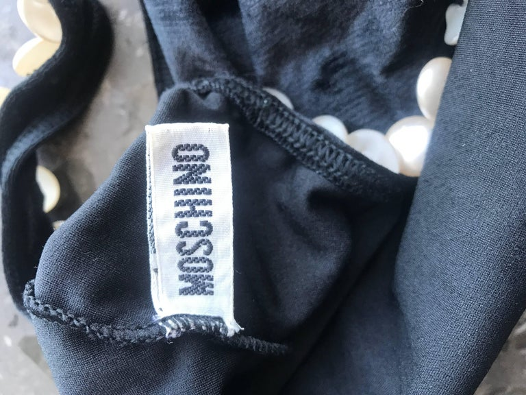 Vintage Moschino 1990s Black and White Velour Pearl Encrusted Bodysuit Swimsuit For Sale 6
