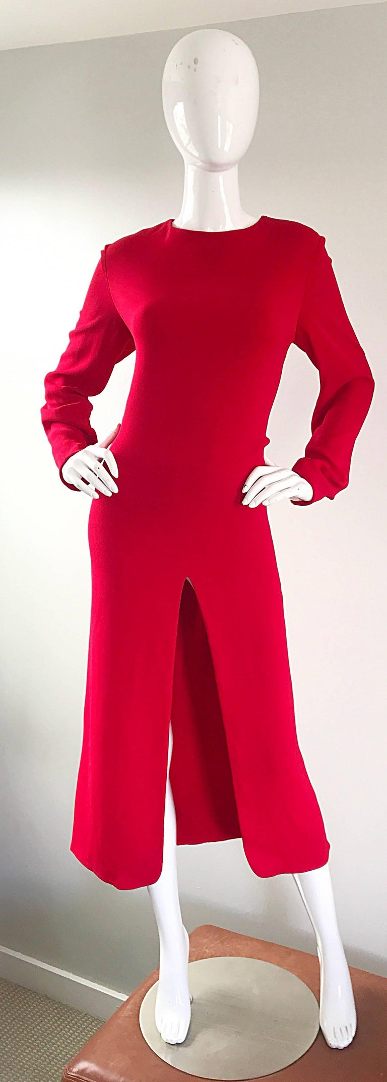 1990s Badgley Mischka Size 10 / 12 Lipstick Red Long Sleeve 90s Evening Dress 2