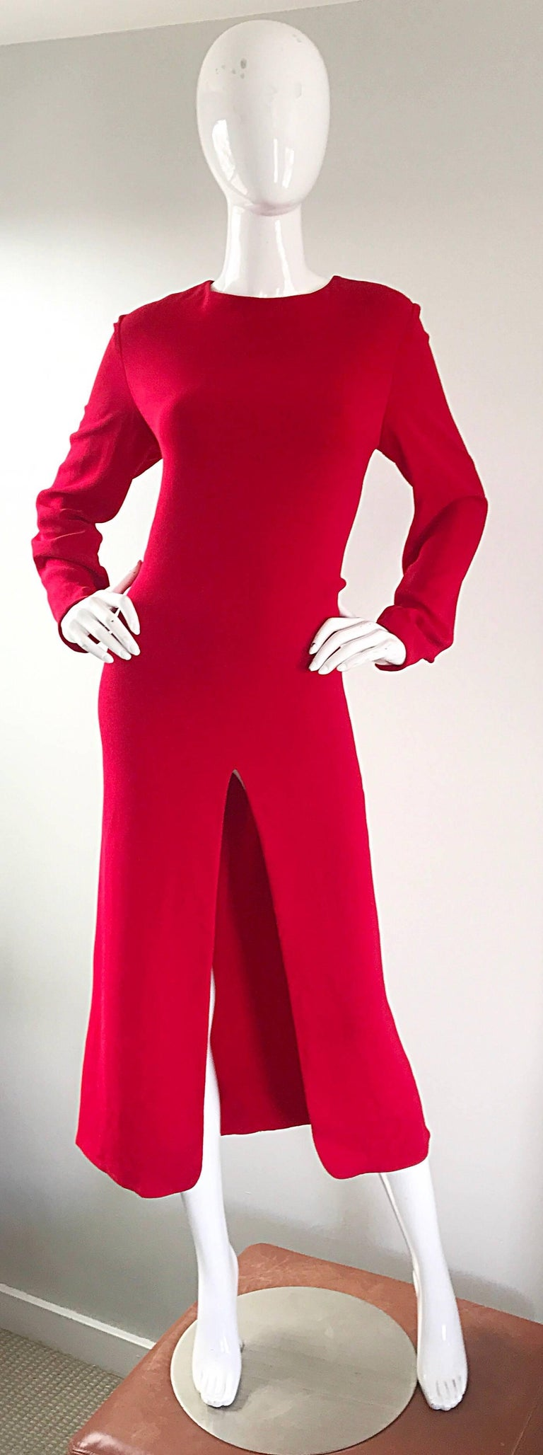1990s Badgley Mischka Size 10 / 12 Lipstick Red Long Sleeve 90s Evening Dress 3