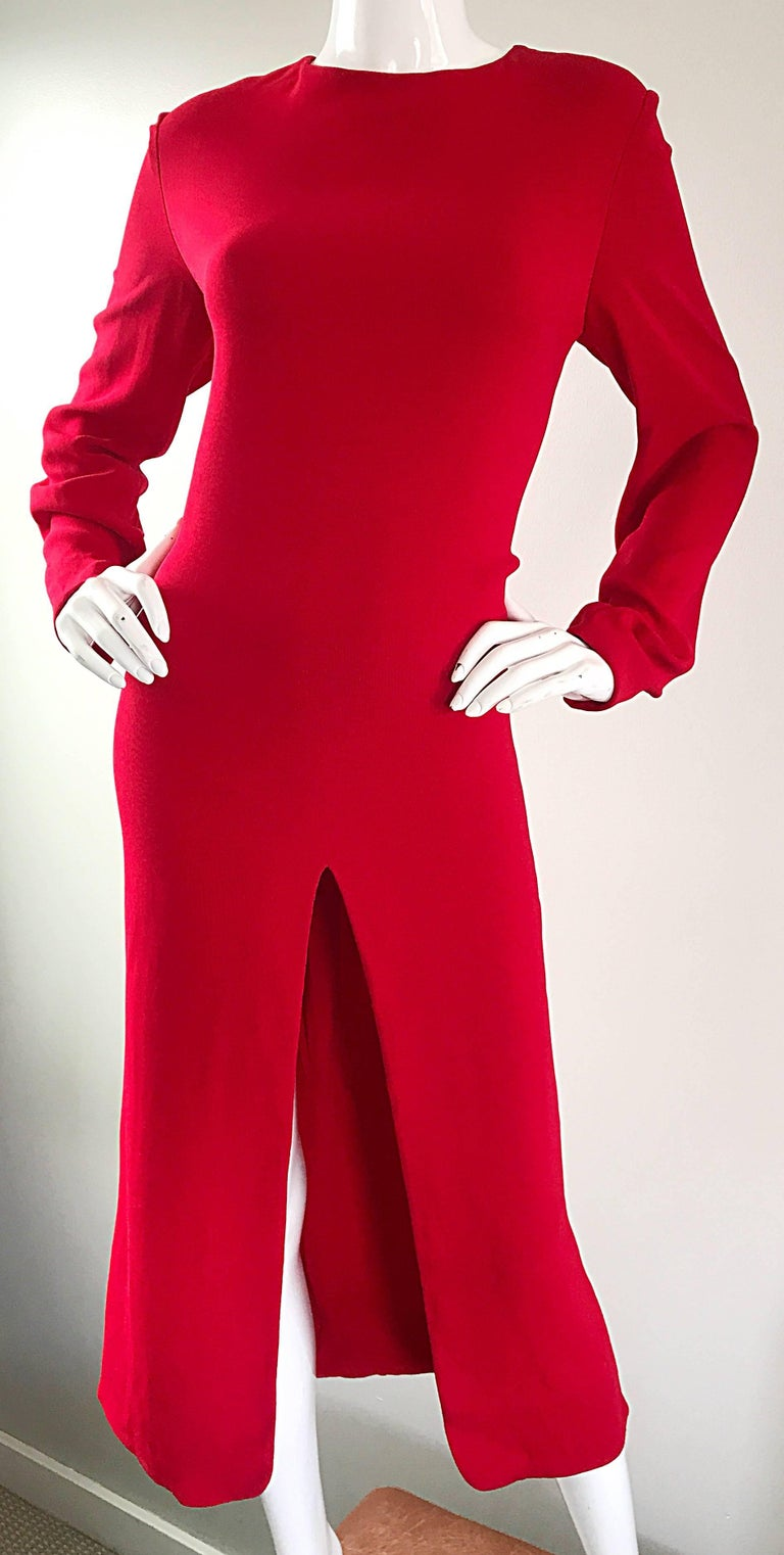 1990s Badgley Mischka Size 10 / 12 Lipstick Red Long Sleeve 90s Evening Dress 4