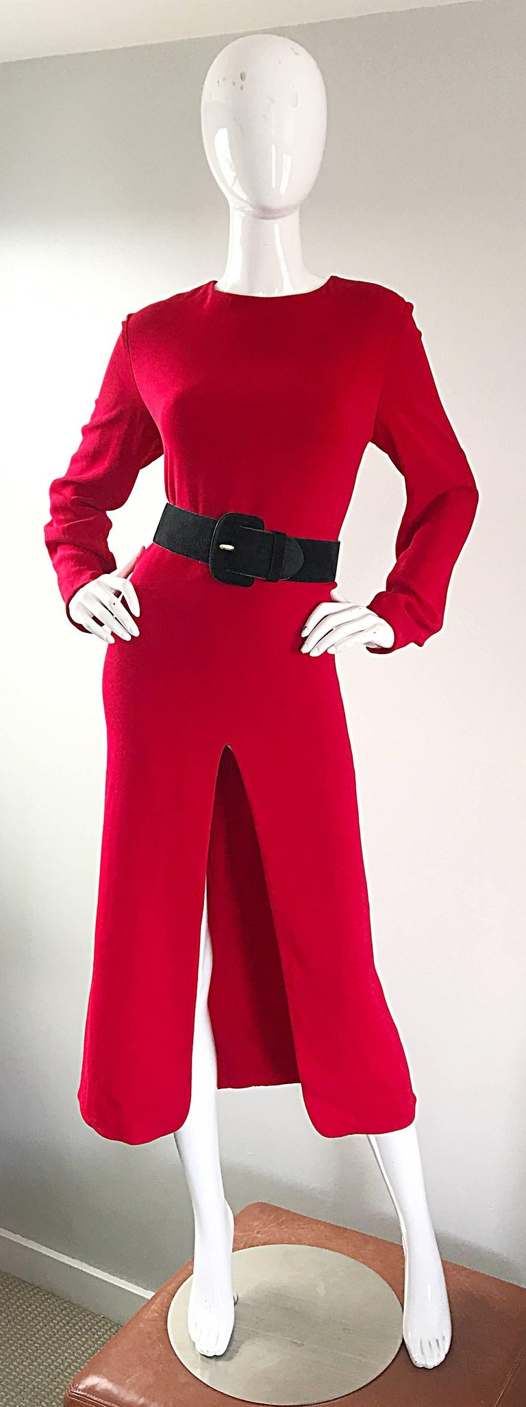 1990s Badgley Mischka Size 10 / 12 Lipstick Red Long Sleeve 90s Evening Dress 5