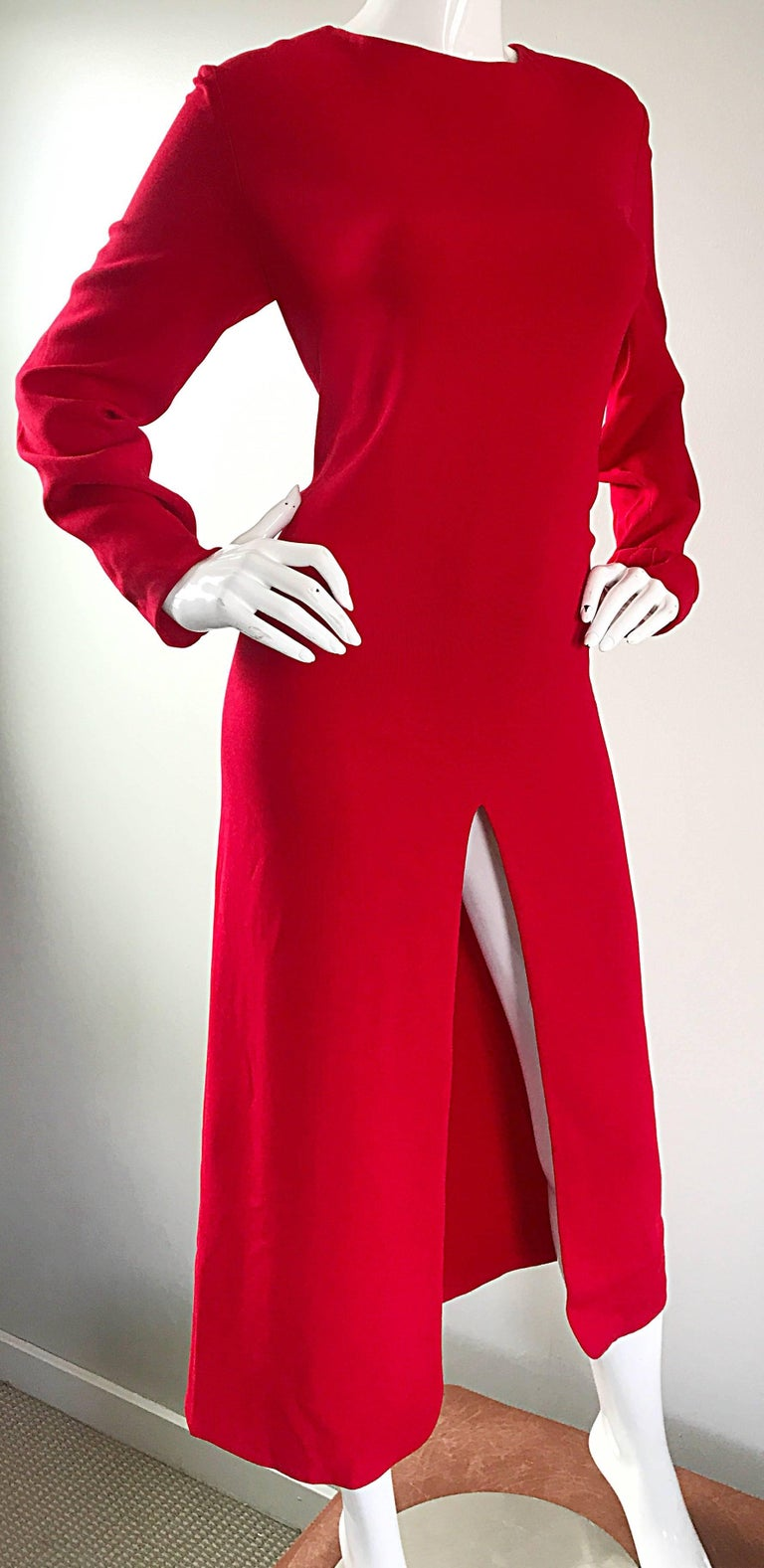 1990s Badgley Mischka Size 10 / 12 Lipstick Red Long Sleeve 90s Evening Dress 6