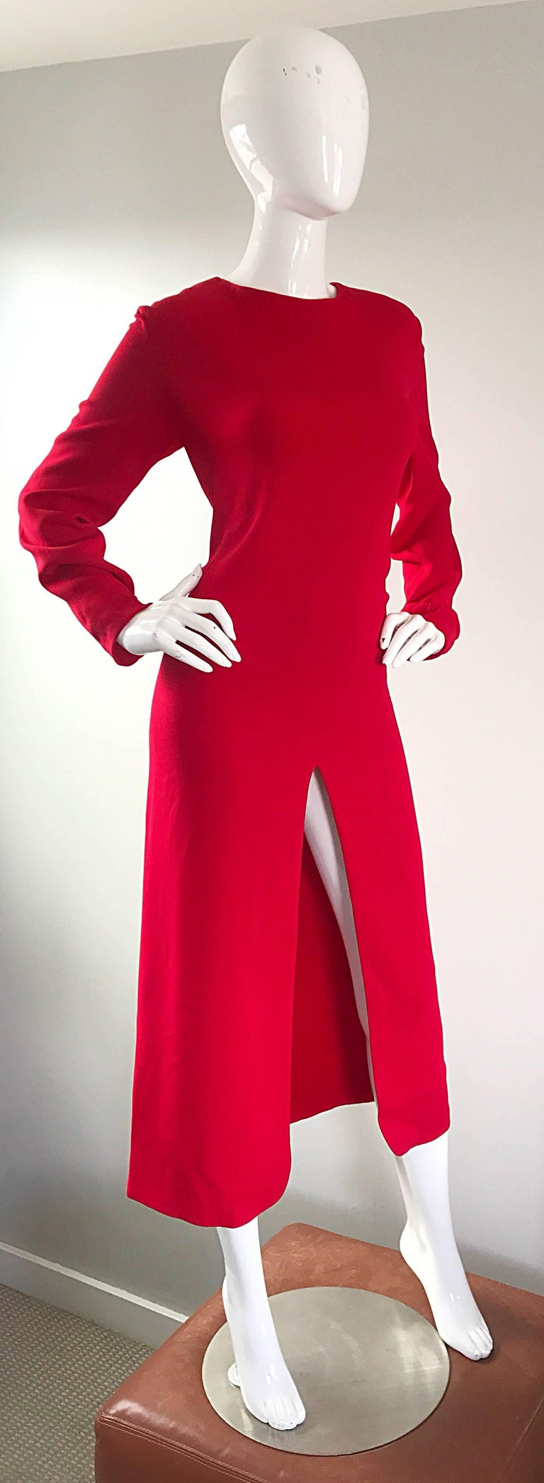 1990s Badgley Mischka Size 10 / 12 Lipstick Red Long Sleeve 90s Evening Dress 7