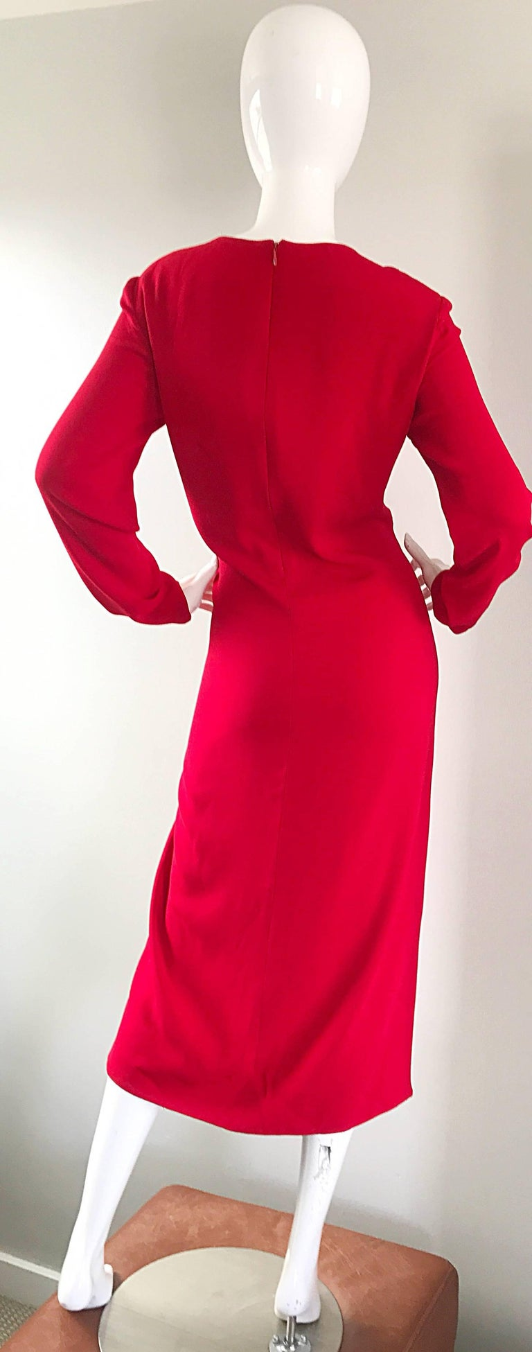 1990s Badgley Mischka Size 10 / 12 Lipstick Red Long Sleeve 90s Evening Dress 8