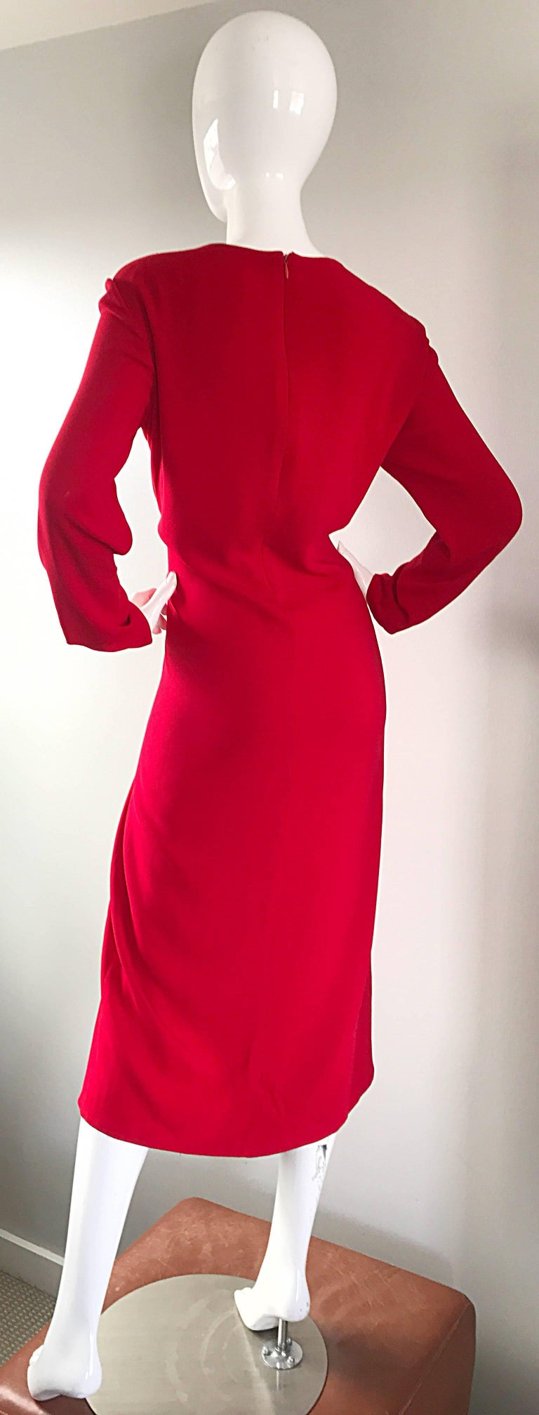 1990s Badgley Mischka Size 10 / 12 Lipstick Red Long Sleeve 90s Evening Dress 9