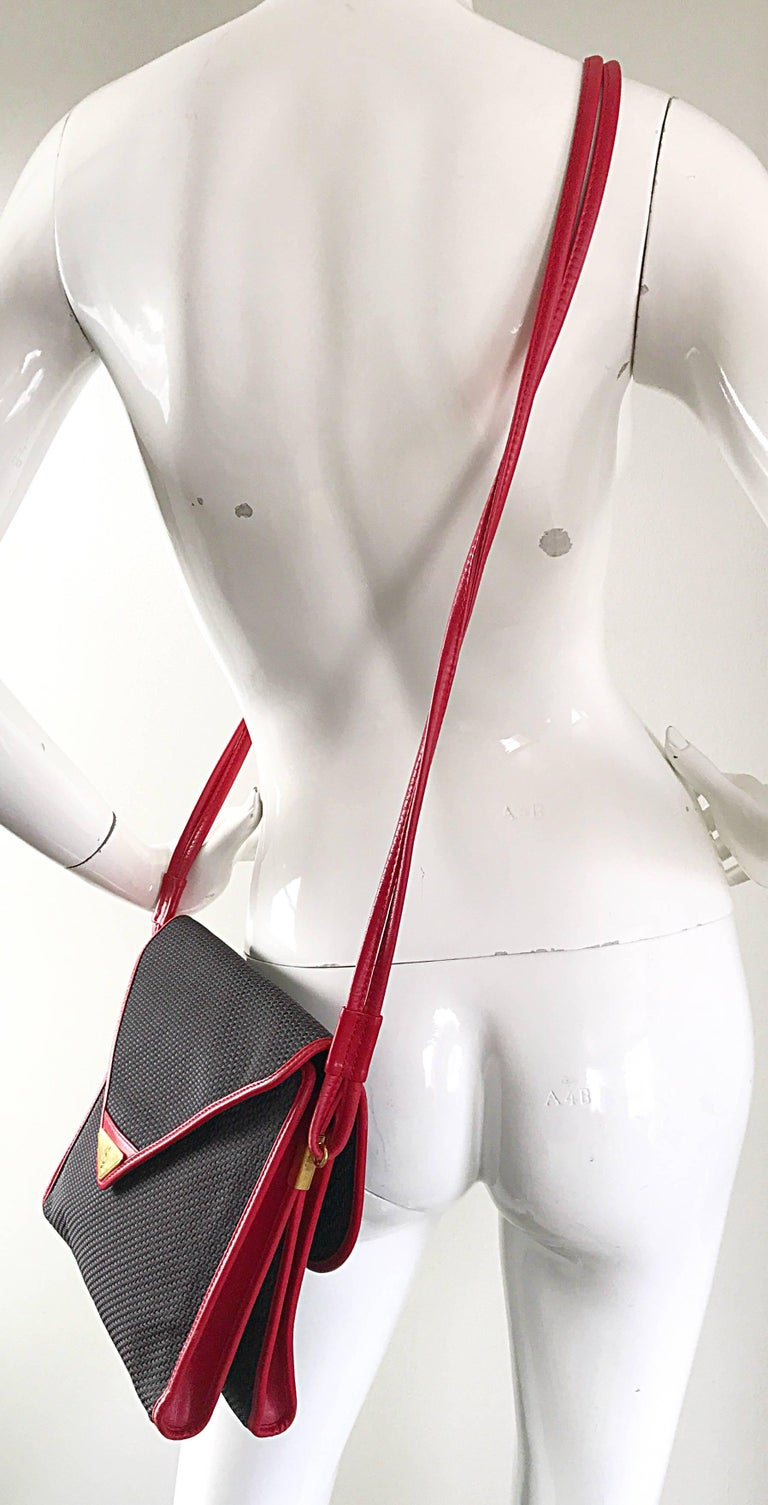Black Vintage Yves Saint Laurent Waxed Canvas Leather Crossbody YSL Shoulder Bag For Sale