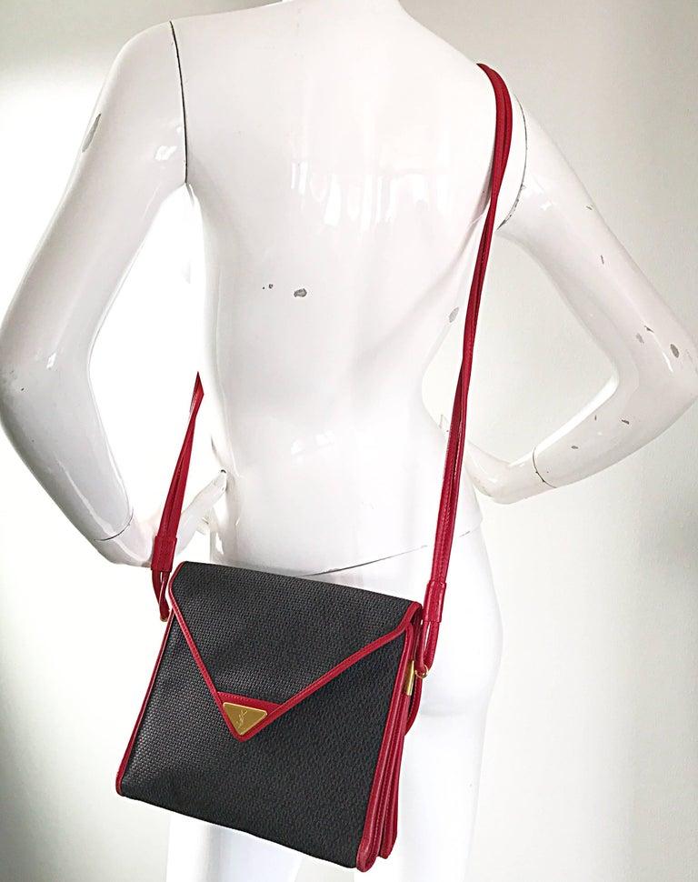 Women's Vintage Yves Saint Laurent Waxed Canvas Leather Crossbody YSL Shoulder Bag For Sale