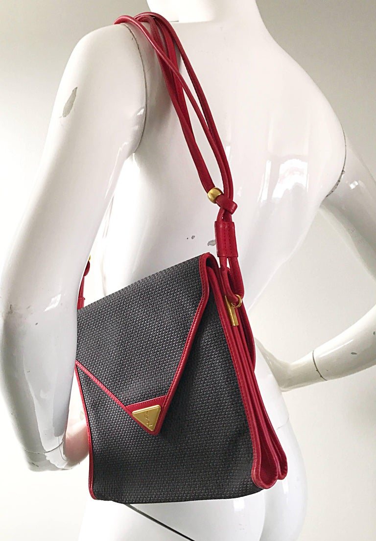 Vintage Yves Saint Laurent Waxed Canvas Leather Crossbody YSL Shoulder Bag For Sale 1